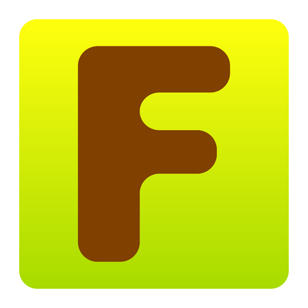 Letter F sign design template element. Vector. Brown icon at green-yellow gradient square with rounded corners on white background. Isolated. Illustration