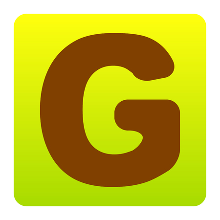 Letter G sign design template element. Vector. Brown icon at green-yellow gradient square with rounded corners on white background. Isolated.