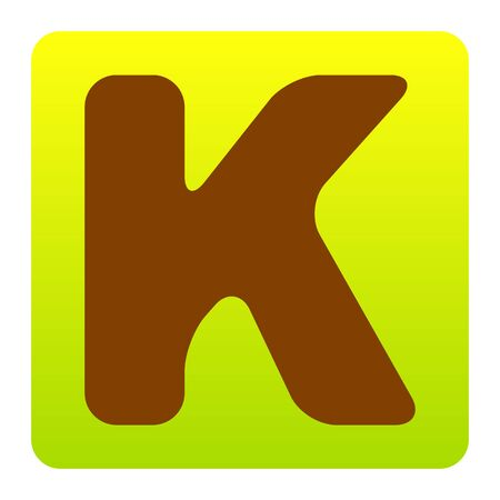 Letter K sign design template element. Vector. Brown icon at green-yellow gradient square with rounded corners on white background. Isolated.