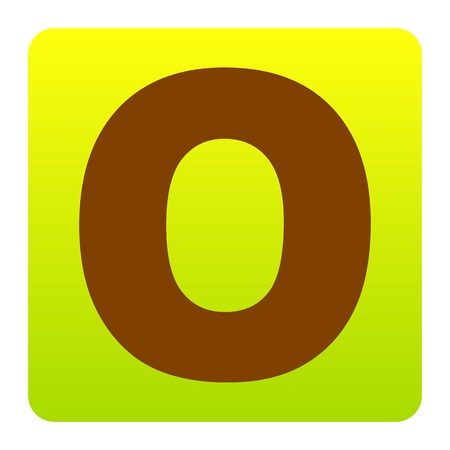 Letter O sign design template element. Vector. Brown icon at green-yellow gradient square with rounded corners on white background. Isolated. Illustration