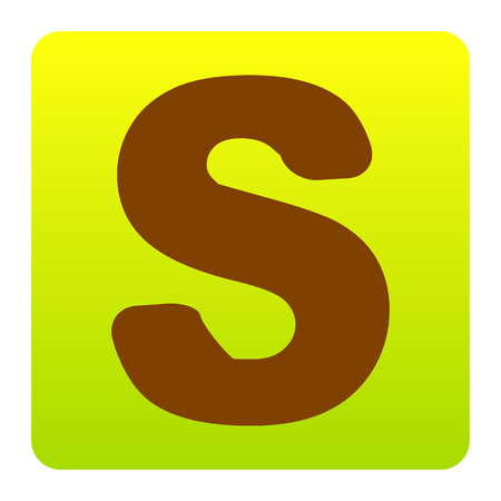 Letter S sign design template element. Vector. Brown icon at green-yellow gradient square with rounded corners on white background. Isolated.