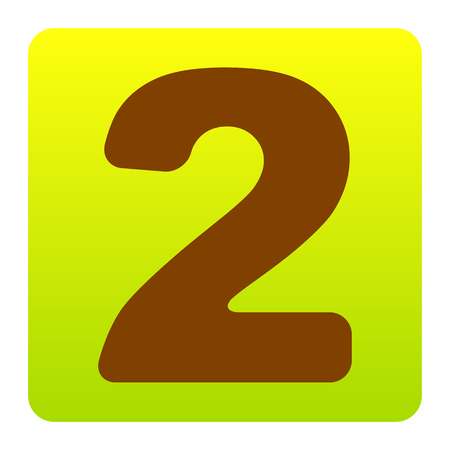 Number 2 sign design template elements. Vector. Brown icon at green-yellow gradient square with rounded corners on white background. Isolated.