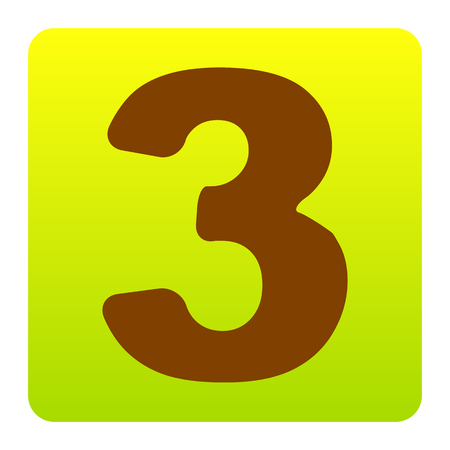 Number 3 sign design template element. Vector. Brown icon at green-yellow gradient square with rounded corners on white background. Isolated.