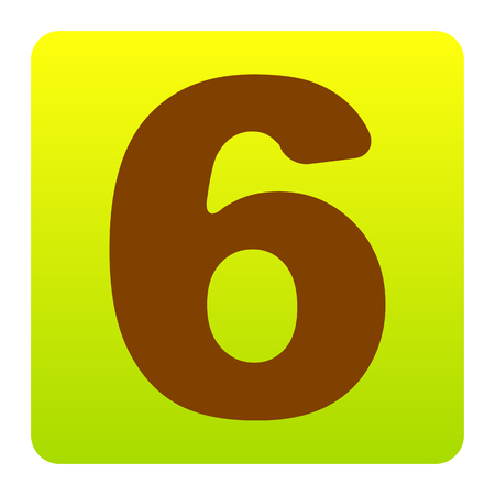 Number 6 sign design template element. Vector. Brown icon at green-yellow gradient square with rounded corners on white background. Isolated. Illustration