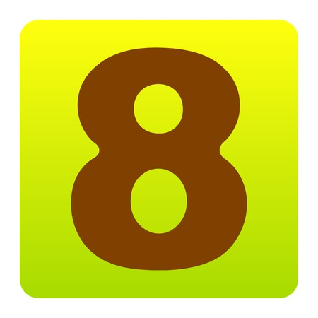 Number 8 sign design template element. Vector. Brown icon at green-yellow gradient square with rounded corners on white background. Isolated.