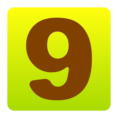 Number 9 sign design template element. Vector. Brown icon at green-yellow gradient square with rounded corners on white background. Isolated.