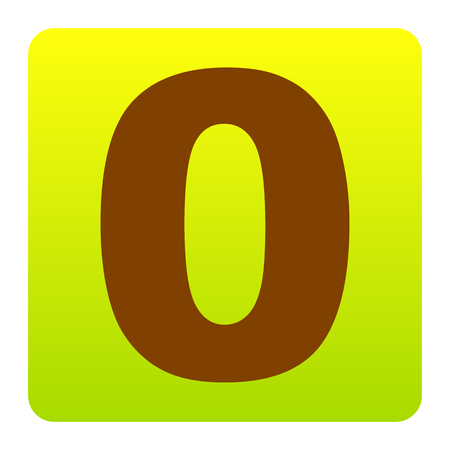 Number 0 sign design template element. Vector. Brown icon at green-yellow gradient square with rounded corners on white background. Isolated. Illustration