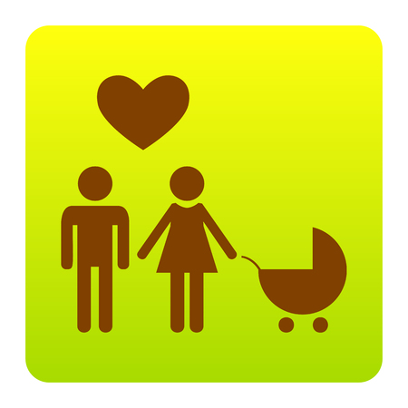 Family symbol with pram and heart. Husband and wife are kept each other`s hands. Love. Vector. Brown icon at green-yellow gradient square with rounded corners on white background. Isolated. Illustration