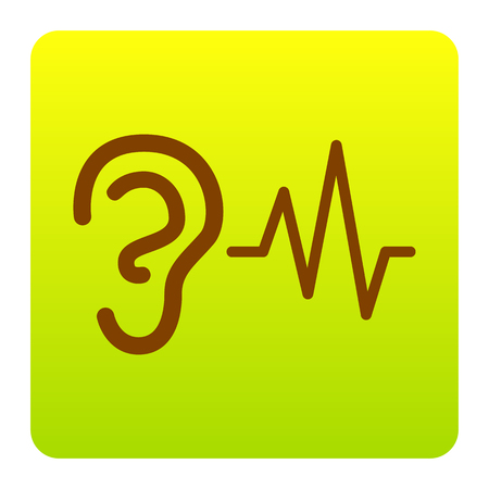 Ear hearing sound sign. Vector. Brown icon at green-yellow gradient square with rounded corners on white background. Isolated.