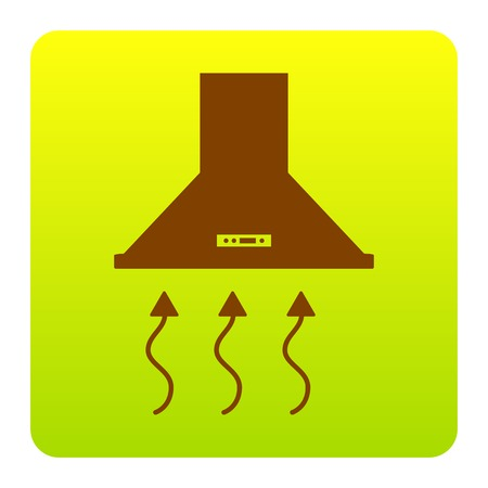 range hood: Exhaust hood. Range hood. Kitchen ventilation sign. Vector. Brown icon at green-yellow gradient square with rounded corners on white background. Isolated.