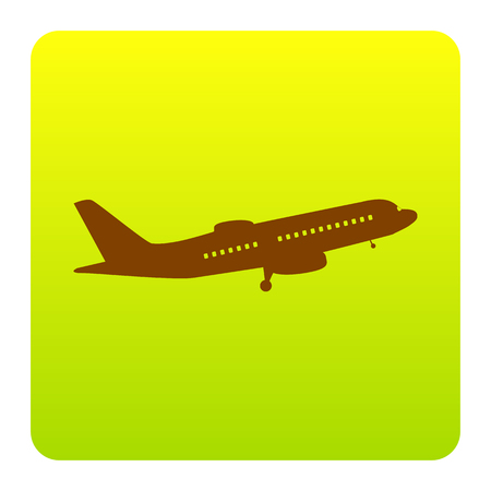 Flying Plane sign. Side view. Vector. Brown icon at green-yellow gradient square with rounded corners on white background. Isolated. Illustration