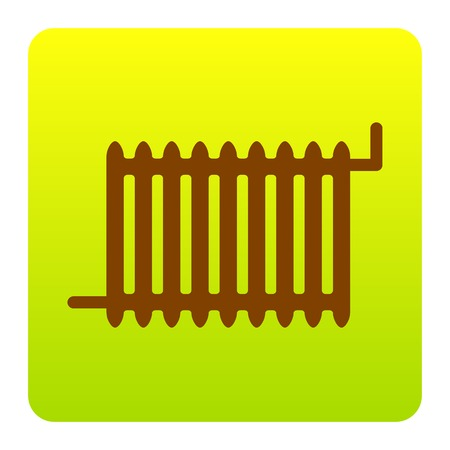 Radiator sign. Vector. Brown icon at green-yellow gradient square with rounded corners on white background. Isolated.