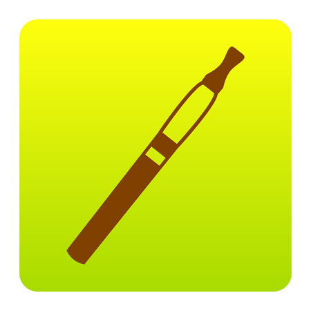 E-cigarette sign. Vector. Brown icon at green-yellow gradient square with rounded corners on white background. Isolated.