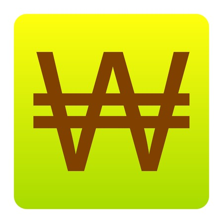 Won sign. Vector. Brown icon at green-yellow gradient square with rounded corners on white background. Isolated.