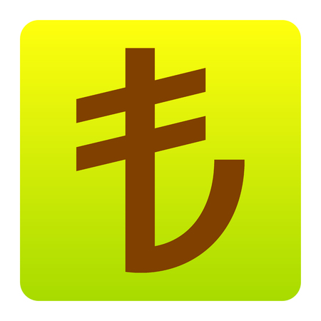 currency converter: Turkiey Lira sign. Vector. Brown icon at green-yellow gradient square with rounded corners on white background. Isolated. Illustration