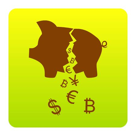 art processing: Pig money bank sign. Vector. Brown icon at green-yellow gradient square with rounded corners. Illustration