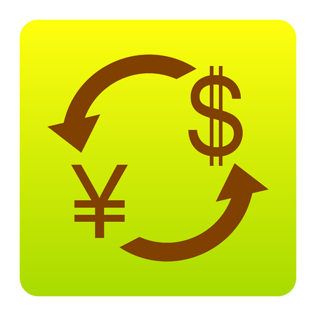 Currency exchange sign. Japan Yen and US Dollar. Vector. Brown icon at green-yellow gradient square with rounded corners on white background. Isolated.