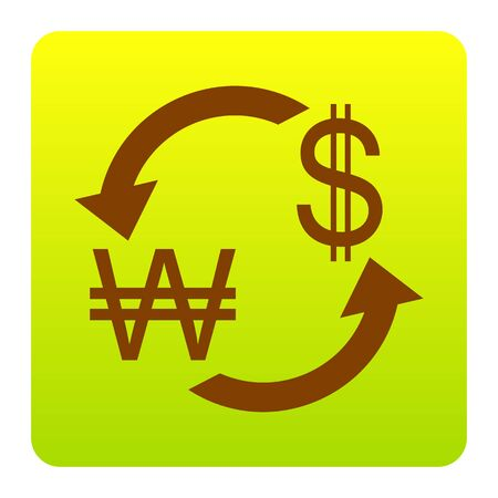 Currency exchange sign. South Korea Won and US Dollar. Vector. Brown icon at green-yellow gradient square with rounded corners on white background. Isolated. Illustration
