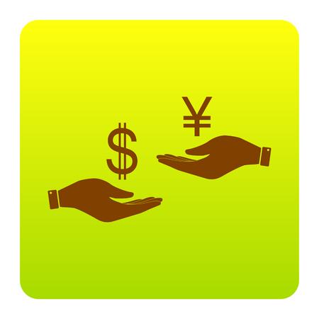 손에서 손으로 환전. 달러와 엔. 벡터. 흰색 배경에 둥근 모서리와 녹색 - 노란색 그라데이션 광장에서 갈색 아이콘. 외딴.