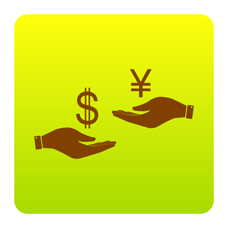 Currency exchange from hand to hand. Dollar and Yen. Vector. Brown icon at green-yellow gradient square with rounded corners on white background. Isolated.