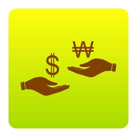 Currency exchange from hand to hand. Dollar and South Korea Won. Vector. Brown icon at green-yellow gradient square with rounded corners on white background. Isolated.