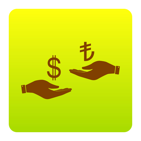 Currency exchange from hand to hand. Dollar and Turkey Lira. Vector. Brown icon at green-yellow gradient square with rounded corners on white background. Isolated.