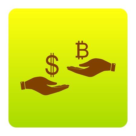 손에서 손으로 환전. 달러와 Bitcoin. 벡터. 흰색 배경에 둥근 모서리와 녹색 - 노란색 그라데이션 광장에서 갈색 아이콘. 외딴.
