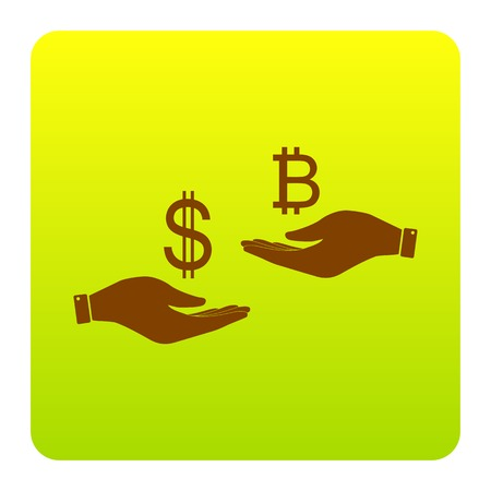 Currency exchange from hand to hand. Dollar and Bitcoin. Vector. Brown icon at green-yellow gradient square with rounded corners on white background. Isolated.