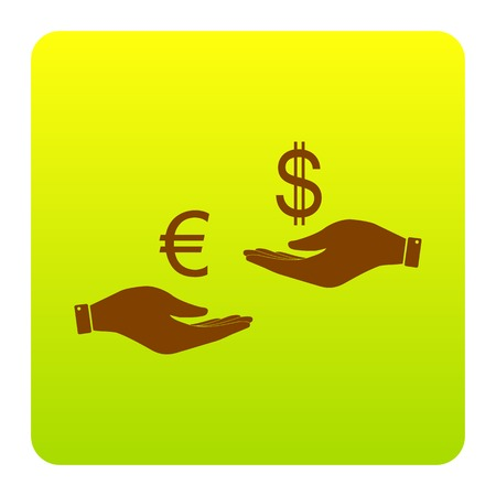 Currency exchange from hand to hand. Euro and Dollar. Vector. Brown icon at green-yellow gradient square with rounded corners on white background. Isolated.