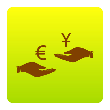 Currency exchange from hand to hand. Euro and Yuan. Vector. Brown icon at green-yellow gradient square with rounded corners on white background. Isolated.