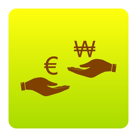 Currency exchange from hand to hand. Euro and Won. Vector. Brown icon at green-yellow gradient square with rounded corners on white background. Isolated. Illustration