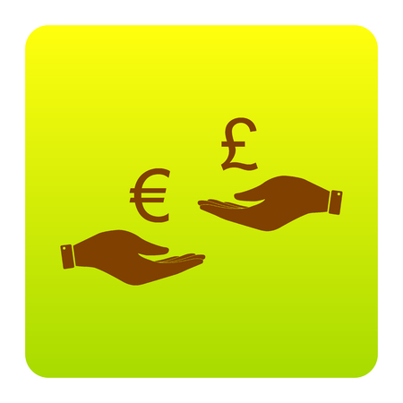 Currency exchange from hand to hand. Euro and Puond. Vector. Brown icon at green-yellow gradient square with rounded corners on white background. Isolated. Illustration