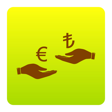 Currency exchange from hand to hand. Euro and Lira. Vector. Brown icon at green-yellow gradient square with rounded corners on white background. Isolated.
