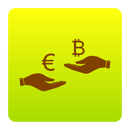 Currency exchange from hand to hand. Euro an Bitcoin. Vector. Brown icon at green-yellow gradient square with rounded corners on white background. Isolated.