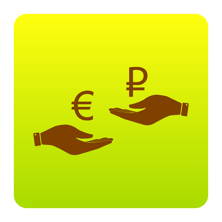 Currency exchange from hand to hand. Euro and Rouble. Vector. Brown icon at green-yellow gradient square with rounded corners on white background. Isolated. Illustration