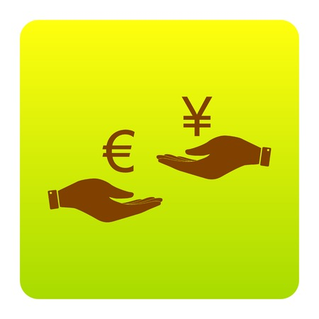 Currency exchange from hand to hand. Euro and Yen. Vector. Brown icon at green-yellow gradient square with rounded corners on white background. Isolated.