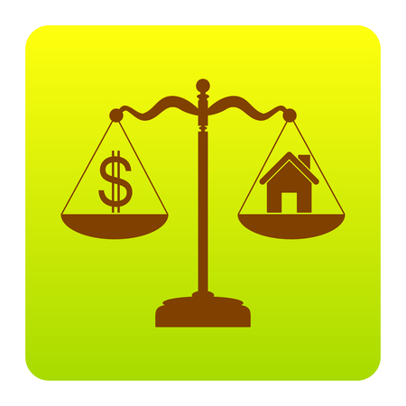 House and dollar symbol on scales. Vector. Brown icon at green-yellow gradient square with rounded corners on white background. Isolated.