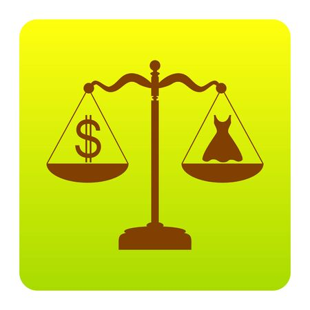 Dress and dollar symbol on scales. Vector. Brown icon at green-yellow gradient square with rounded corners on white background. Isolated.