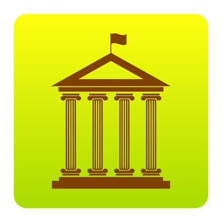 roman pillar: Historical building with flag. Vector. Brown icon at green-yellow gradient square with rounded corners on white background. Isolated. Illustration