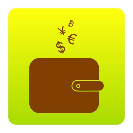 art processing: Wallet sign with currency symbols. Vector. Brown icon at green-yellow gradient square with rounded corners.