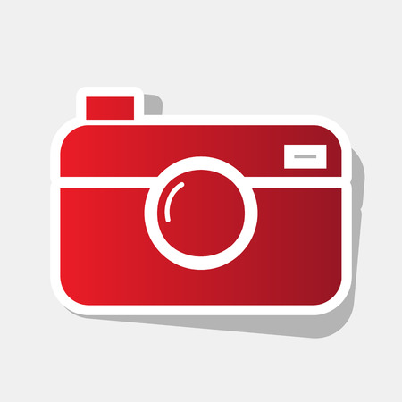 Digital photo camera sign. Vector. New year reddish icon with outside stroke and gray shadow on light gray background. Illustration