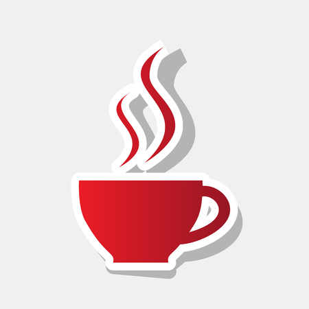 long bean: Cup of coffee sign. Vector. New year reddish icon with outside stroke and gray shadow on light gray background. Illustration