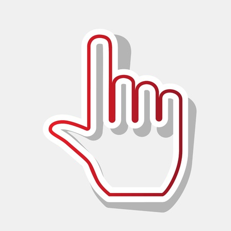 Hand sign illustration. Vector. New year reddish icon with outside stroke and gray shadow on light gray background.