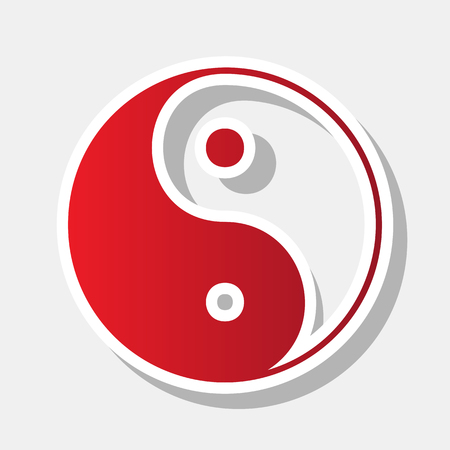 Ying yang symbol of harmony and balance. Vector. New year reddish icon with outside stroke and gray shadow on light gray background. Illustration