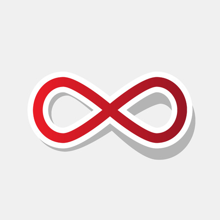 Limitless symbol illustration. Vector. New year reddish icon with outside stroke and gray shadow on light gray background.