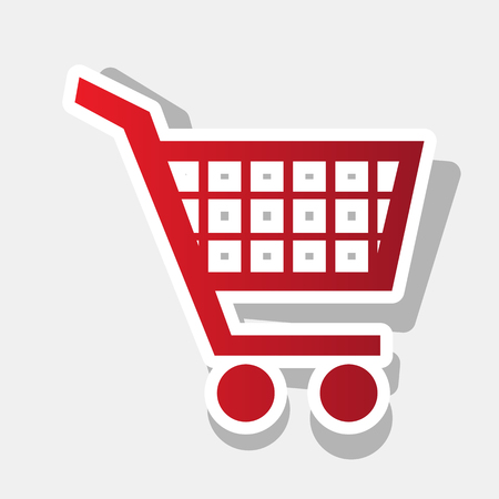 Shopping cart sign. Vector. New year reddish icon with outside stroke and gray shadow on light gray background. Illustration