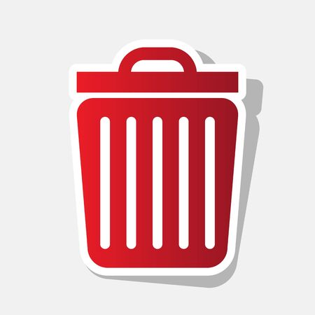 Trash sign illustration. Vector. New year reddish icon with outside stroke and gray shadow on light gray background.