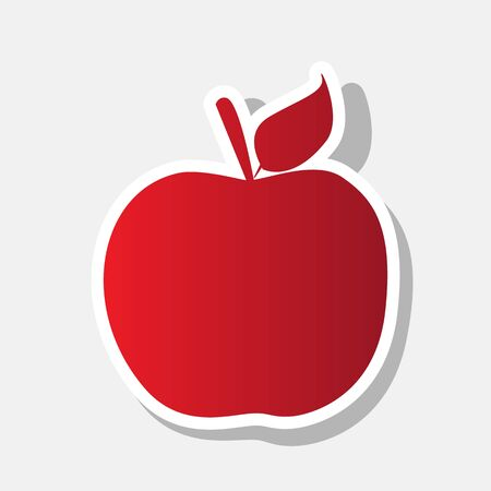 Apple sign illustration. Vector. New year reddish icon with outside stroke and gray shadow on light gray background.