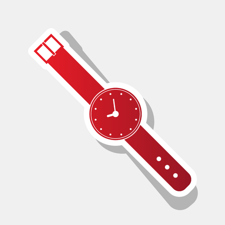 Watch sign illustration. Vector. New year reddish icon with outside stroke and gray shadow on light gray background. Illustration