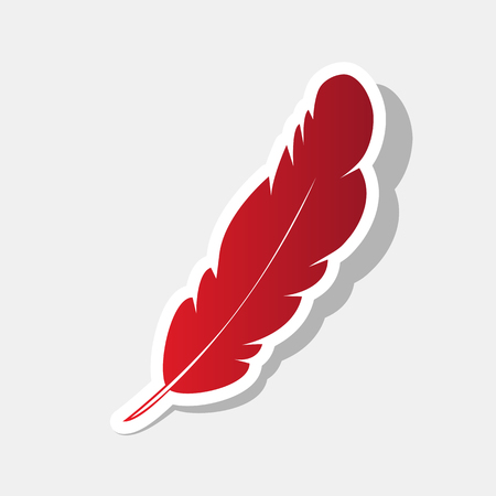 Feather sign illustration. Vector. New year reddish icon with outside stroke and gray shadow on light gray background.